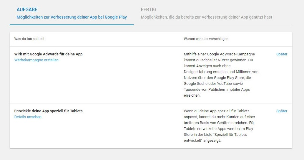 Screenshot von der Google Play Console
